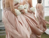 Multiway Infinity Modern Bridesmaid Dress ALL sizes & colors HANDMADE in the USA Exact Size and Lengths blush rosewater nude rose putty gold
