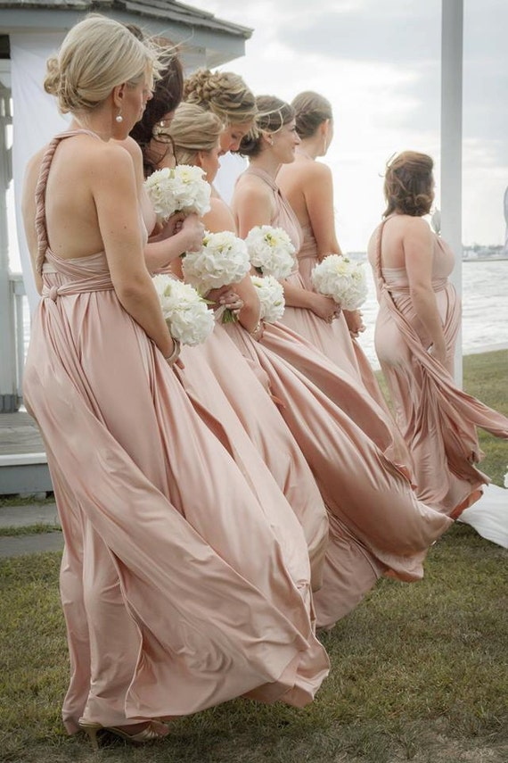 Precision Size & Lengths Multiway Infinity Modern Bridesmaid Dress 1000 colors HANDMADE in the USA  blush rosewater nude rose putty gold