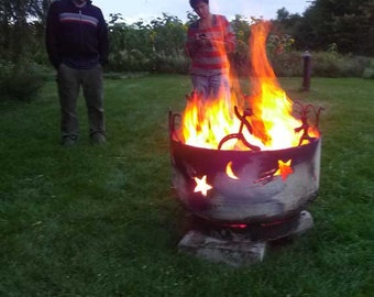 Fire Pit moon and shooting stars in steel with pagan wiccan figures