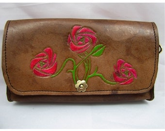 Leather Clutch Purse - The Roses