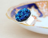 Metallic Blue Statement Ring - Cocktail Ring, Deep Blue Faux Druzy, Womans Ring, Adjustable Ring, Large Ring, Wide Band Ring, Gift For Woman