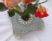 Draped Doily Vase / Handmade Pottery Vase / Green & White /
