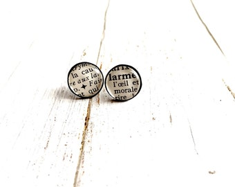Vinyl Record Earrings studs - Dictionary words - upcycled 12mm