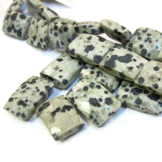 Dalmatian Jasper Beads, Rectangle Chicklets, 15 Inch Strand of 27 Natural Gemstone Beads for Making Jewelry (S-Dj1)