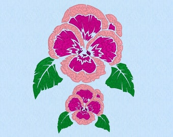 Pansy Flower Machine Embroidery Design File in two sizes