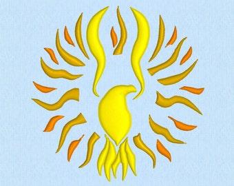 Phoenix - Eagle - Sun Tribal Tattoo machine embroidery design file