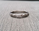 """Victorian Diamond Wedding Band Etched Ring Vintage Antique Art Nouveau Art Deco Scalloped 14K Rose Gold match """"The Charlotte"""" and """"The Elsa"""""""