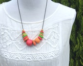 ON SALE! Bright Contrasting Polymer Clay Necklace - Orange, Pink and Green with Wooden Beads