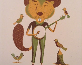 BEAVER Musician playing a Banjo poster with text Pickin All Year hand printed letterpress with hand set wood type sign