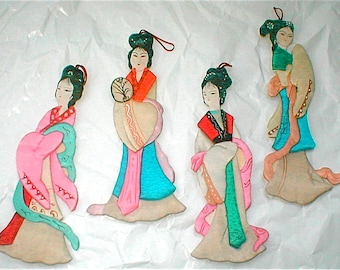 Four Silk Goddesses - Vintage 80s Chinese Ornaments