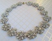 Wedding Statement Necklace bridal Jewelry Chunky Necklace Rhinestone statement crystal wedding necklace silver crystal