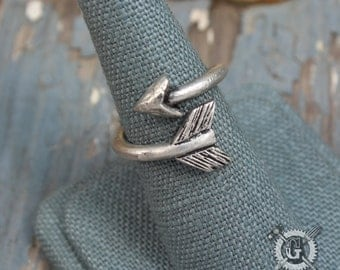 Cupid's Arrow Ring - Adjustable Size 6 to 10 - Doctor Gus Handmade Jewelry Creations - Pewter Arrow Ring - Midi Ring - Stackable Ring - Boho