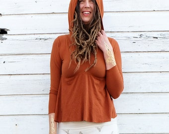 ORGANIC Howrah Hooded Cropped Shirt - ( light hemp and organic cotton knit ) -  organic shirt