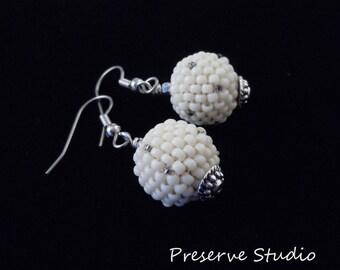 White Earrings, Beaded Earrings, Silver Earrings, Beaded Bead, Spheres, Casual Earrings