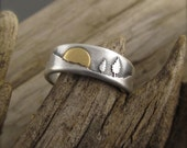 Yellow Gold Sunrise Mountain Pines Sterling Silver Wedding Ring