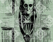 Digital Download Scary Skull Halloween Door Knocker Vintage graphic, digi stamp, Creepy Gothic, Digital Transfer