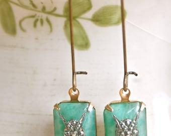 Victoria. light green vintage glass marcasite edwardian style earrings. Tiedupmemories