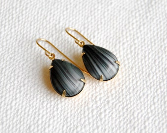 Marbled Teardrop Earrings.  Gray Vintage Rhinestones. Glass Drop Dangles. Minimal and Simple Jewelry. Black and White. FREE Shipping in US