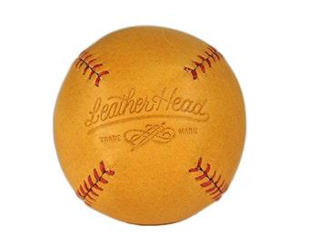 LEMON BALL Vintage style lemon peel baseball, tan leather with red stitch, Sports, Play, Games, Handmade (LB-Gtan-Red)
