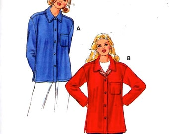 Womens shirt jacket casual style rustic fashion multi size Kwik Sew 2798 sewing pattern Sz XS to XL Uncut