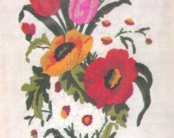 Floral Needlepoint kit Creatique Crewel Kit Brilliance 762 Flowers embroidery needlework Unopened Tulips and pansies