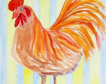 Bird, Bird Art, Rooster, Rooster Art, French Rooster, French Kitchen Rooster, Rooster Print