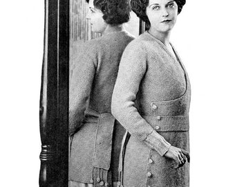 1920s Clever Buttoning Sweater Knitting E-Pattern- PDF Knitting Pattern Download