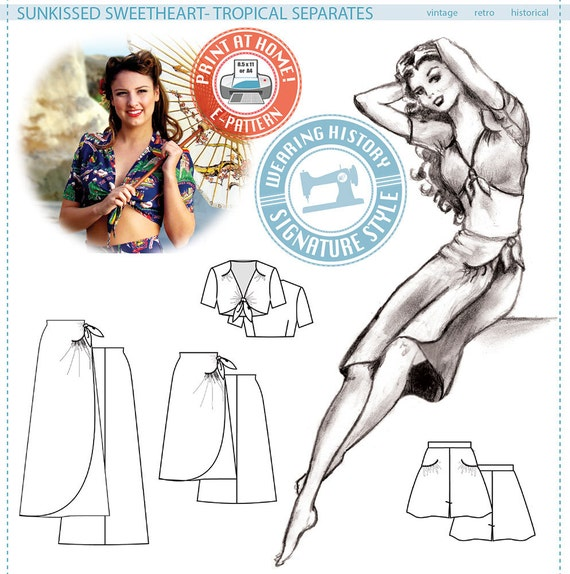 1950s Sewing Patterns | Swing and Wiggle Dresses, Skirts E-PATTERN- Sunkissed Sweetheart- 1940s Sarong Separates- Top Skirt Shorts- PDF Pattern Wearing History $16.00 AT vintagedancer.com