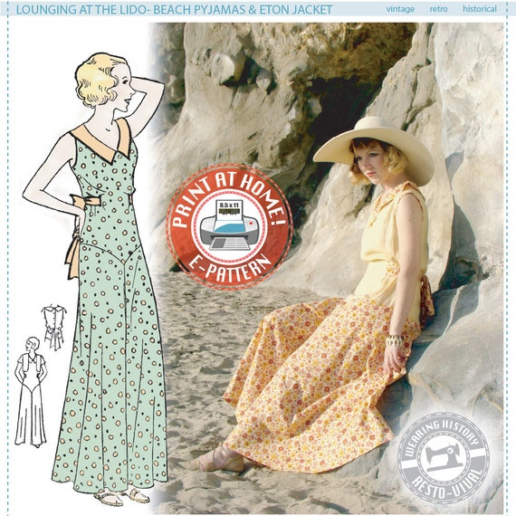 1930s Women's Pants and Beach Pajamas 1930s Beach or Lounging Pyjamas and Eton Jacket- Wearing History PDF Vintage Sewing Pattern $14.00 AT vintagedancer.com