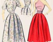1950s Criss-Cross Halter Blouse Box Pleat Skirt Advance 8315 ROCKABILLY Vintage 50s Sewing Pattern Size 12 Bust 32 UNCUT