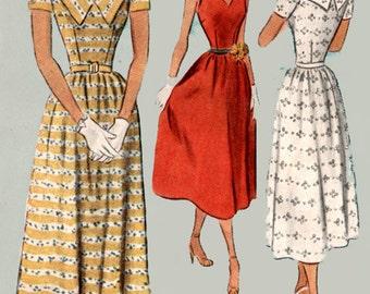 1950s Dress w/ Low V Neckline Mccalls 7987 ROCKABILLY 50s Vintage Sewing Pattern Size 16 Bust 34 UNCUT