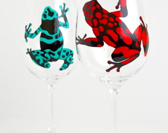 Poison Dart Frog Glasses - Hand Painted Poison Dart Frog Wine Glasses - Frog Glasses - Rainforest Wedding