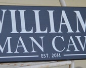 Custom Wood Sign, Personalized Family Name Sign, Last Name Sign, man cave, mens room,  hand painted NO vinyl lettering