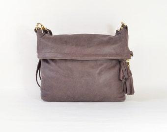 Elise - Handmade Plum Leather Messenger Shoulder Bag Twin Size SS15