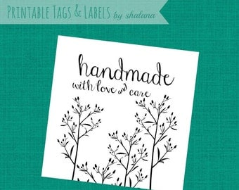 Printable PDF Tags or Labels - Handmade with Love and Care