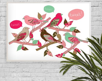 A3 Heavy Weight Digital Print • Tweet, Illustrated Bird Print