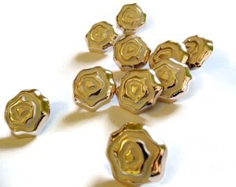 10 25mm White Enamel Flower Buttons Gold Shank Buttons