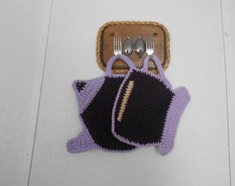 Tea Pot and Tea Cup pot holder / hot pad / trivet set in violet and orchid
