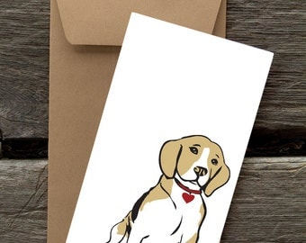 Beagle with Heart -- 8 Blank flat cards and envelopes