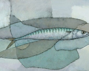Cornish Mackerel, Original Abstract Fish Painting