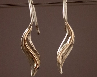 Sterling Silver Earrings with 14k Gold Wire