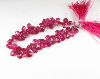 Stunning Natural Deep Pink Red Genuine Ruby Rubies Faceted Pear Flat Tear Drop Teardrop Gemstone Briolettes 8mm - 9mm (4 beads)