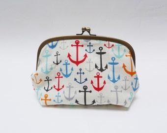 Cosmetic bag, nautical anchor print, multi colour, cotton pouch