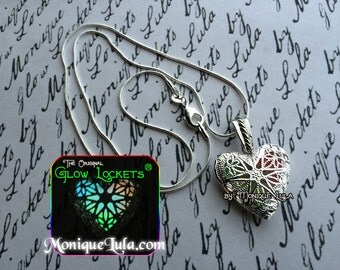 Rainbow Glowing Heart Glow Locket ® Necklace