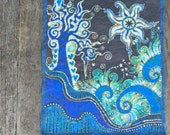 "Trinidad Batik Tree Fabric Print Patch 9"" x 8"""