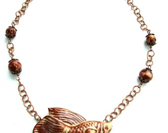 Handmade Ceramic Betta Fish Necklace in Shades of Brown