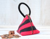 Triangle Pouch in Red and Black Felted Wool