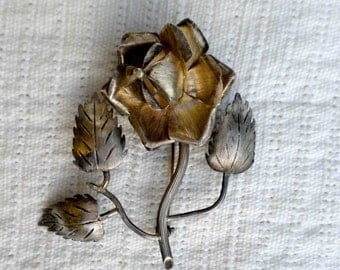 Vintage Midcentury Single Sterling Silver Full Bloom Rose Blossom Pin or Brooch / Roses Jewelry