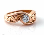 14K White Sapphire Engagement Ring Bezel Set Leaf Design Sapphire Ring White Yellow Rose Gold Platinum Bridal Jewelry