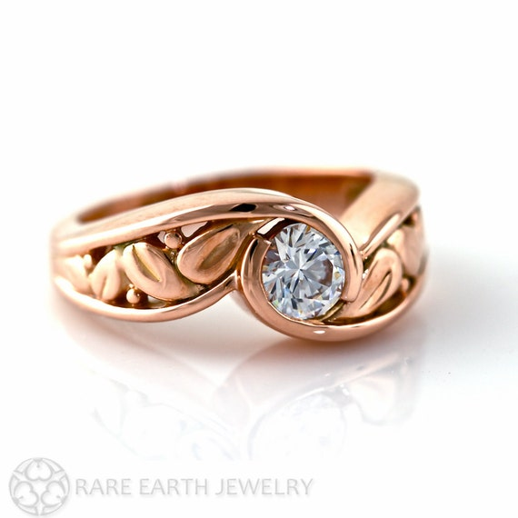 14K White Sapphire Engagement Ring Bezel Set Leaf Design Sapphire Ring White Yellow Rose Gold Platinum Bridal Jewelry